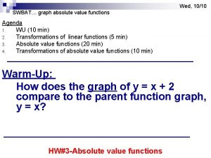 Wed 1010 SWBAT graph absolute value functions Agenda