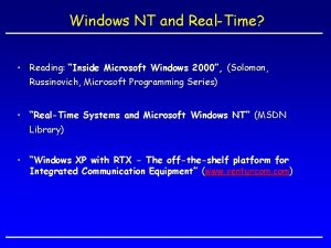 Windows NT and RealTime Reading Inside Microsoft Windows