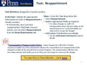 Task Reappointment Task Definition Reappoint a Faculty member