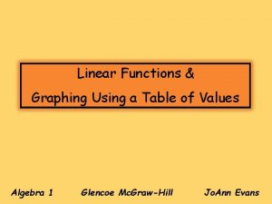 Linear Functions Graphing Using a Table of Values