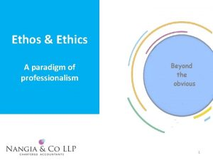 Ethos Ethics A paradigm of professionalism 1 Simply