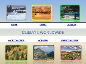 POLAR DESERT TROPICAL CLIMATE WORLDWIDE COOL TEMPERATE MOUNTAIN