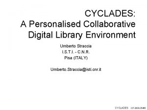 CYCLADES A Personalised Collaborative Digital Library Environment Umberto