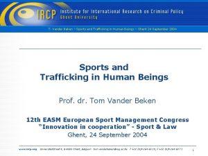 T Vander Beken Sports and Trafficking in Human