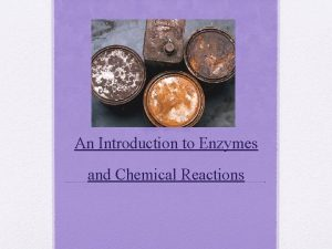 An Introduction to Enzymes and Chemical Reactions Enzymes
