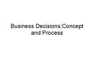 Business Decisions Concept and Process Concept of Decision
