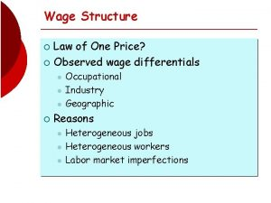 Wage Structure Law of One Price Observed wage