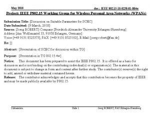 May 2018 doc IEEE 802 15 18 0238