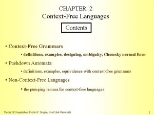 CHAPTER 2 ContextFree Languages Contents ContextFree Grammars definitions