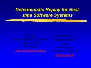 Deterministic Replay for Realtime Software Systems Alice Lee