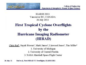 College of Engineering Department of Atmospheric Oceanic Space