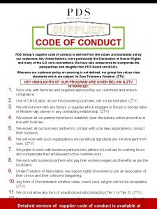 SUPPLIER CODE OF CONDUCT PDS Groups supplier code
