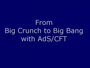 From Big Crunch to Big Bang with Ad