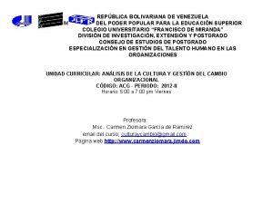 REPBLICA BOLIVARIANA DE VENEZUELA MINISTERIO DEL PODER POPULAR