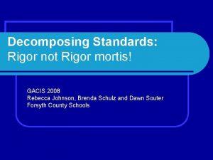 Decomposing Standards Rigor not Rigor mortis GACIS 2008