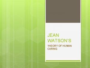 JEAN WATSONS THEORY OF HUMAN CARING Jean Watsons