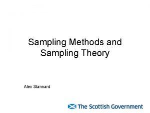 Sampling Methods and Sampling Theory Alex Stannard Objectives