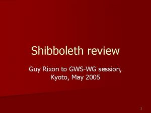 Shibboleth review Guy Rixon to GWSWG session Kyoto