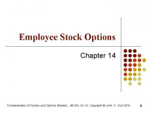 Employee Stock Options Chapter 14 Fundamentals of Futures