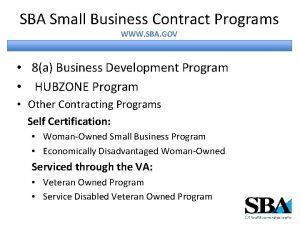 SBA Small Business Contract Programs WWW SBA GOV