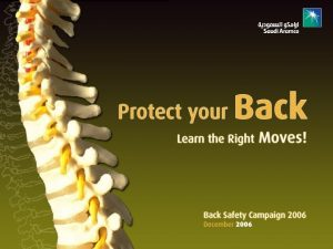 Back Safety Your back is at work 24