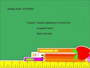 Running Head SCENARIO Scenario Practical Applications of School