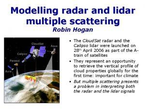Modelling radar and lidar multiple scattering Robin Hogan