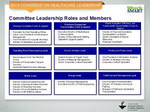 Committee Leadership Roles and Members Steering Committee Chairs