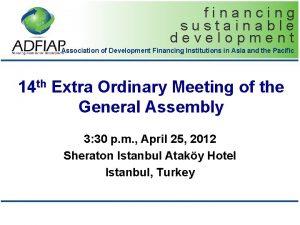 financing sustainable development Association of Development Financing Institutions