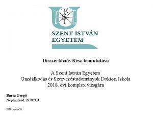 Disszertcis Rsz bemutatsa A Szent Istvn Egyetem Gazdlkods
