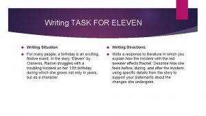 Writing TASK FOR ELEVEN Writing Situation Writing Directions