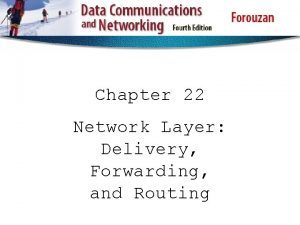 Chapter 22 Network Layer Delivery Forwarding and Routing