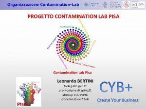 Organizzazione ContaminationLab PROGETTO CONTAMINATION LAB PISA Leonardo BERTINI