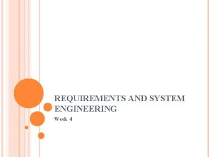 REQUIREMENTS AND SYSTEM ENGINEERING Week 4 OUTLINE System
