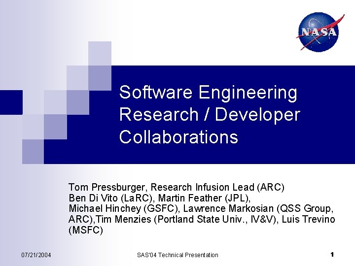 Software Engineering Research Developer Collaborations Tom Pressburger Research