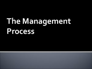 The Management Process What is Management Management The