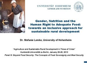 GENDER AND NUTRITION Gender Nutrition and the Human