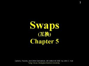 1 Swaps Chapter 5 Options Futures and Other
