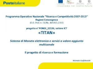 Programma Operativo Nazionale Ricerca e Competitivit 2007 2013