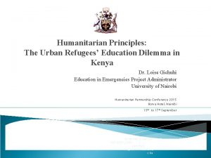 Humanitarian Principles The Urban Refugees Education Dilemma in