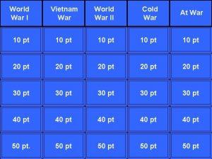 World War I Vietnam War World War II