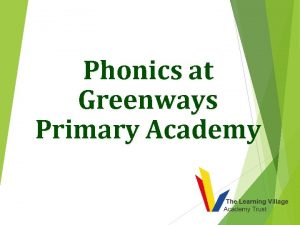 Phonics at Greenways Primary Academy Why teach phonics