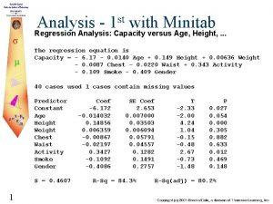 st 1 Analysis with Minitab Regression Analysis Capacity