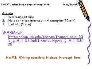 SWBAT Write lines in slopeintercept form Wed 22010