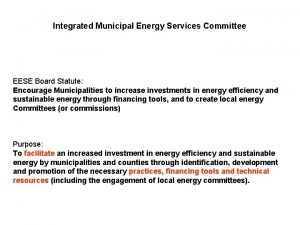 Integrated Municipal Energy Services Committee EESE Board Statute