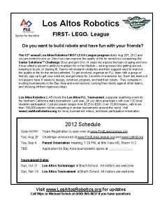 Los Altos Robotics FIRST LEGO League Sports for