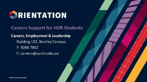 Careers Support for HDR Students Careers Employment Leadership