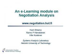An eLearning module on Negotiation Analysis www negotiation