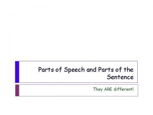 Parts of Speech and Parts of the Sentence