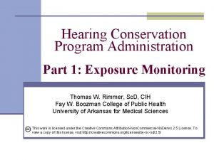 Hearing Conservation Program Administration Part 1 Exposure Monitoring